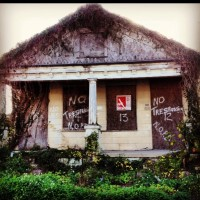 I saw this New Orleans house this year at Mardi Gras. It's not hard to find abandoned homes  that were never demolished or rebuilt.